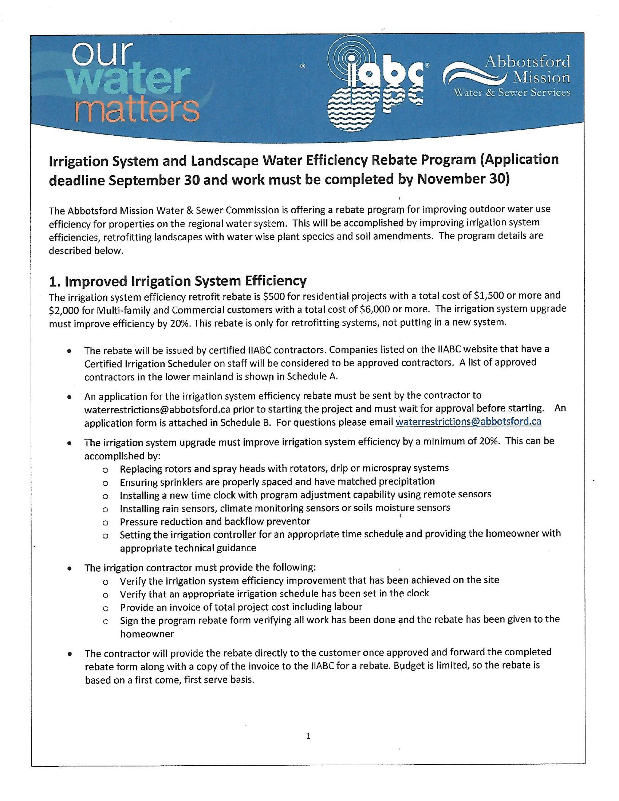Irrigation industry association of bc news abbotsfordmission irrigation landscape water efficiency rebate program xflitez Choice Image